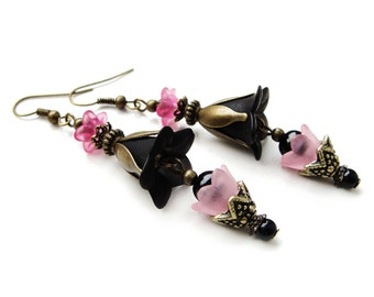 Very elegant black and pink lucite flowers dangle earrings, acrylic floral earrings with glass beads - gift for her, vintage with modern mix