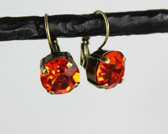 Fiery Orange Hyacinth 11mm Swarovski Crystal Drop Earrings - Antique Silver, Antique Brass, and Black Metal Finishes Available