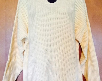 Coldwater Creek Yellow Raised Cotton Knit Tunic Summer Sweater in Medium