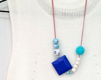Amusing Royal Blue Beaded Long Chain Necklace (Free Shipping Worldwide)