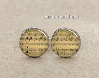 Music Sheet Silver CuffLinks Glass cufflinks Wedding,musical symbol,Music Cufflinks, Musician Cufflinks,Wedding Cufflink,Gift for boys