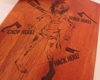 9x13 Zombie Cutting Boards.  Halloween Chop down veggies... and the undead! Flesh eater, Eat Brains, Walker, Wood Zombie, Brain eater