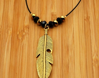 Golden Feather Pendant