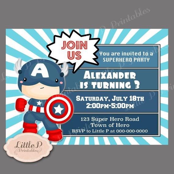 Captain America Birthday Invitation. Avengers Invitation.