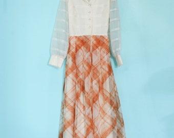 Vintage Mid Century Modern 1960's Burnt Orange Plaid Chiffon Gown! Sz med