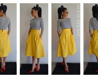 Yellow maxi skirt / Spring circle skirt / Yellow Woman skirt / High Waist skirt