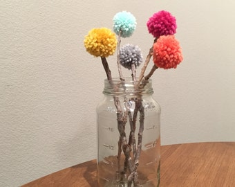CUSTOM set of FIVE yarn pom pom flowers with twig stems for centerpieces and party decorations