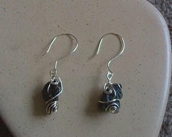Moldavite Wirewrapped Earrings