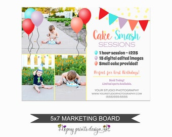 Cake Smash Session Marketing Board - Template for Photographers - Birthday Photoshop Template - 5x7 Photography Design - CST01