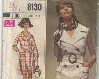 Double-Breasted Coat-Dress - Simplicity Pattern 8130 - 1969