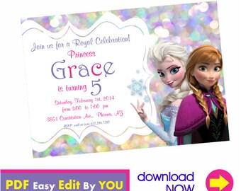 Instant Download Frozen Invitation Queen Elsa Invitation Princess Anna Invitation Frozen Printables Frozen Birthday Invitation 01031