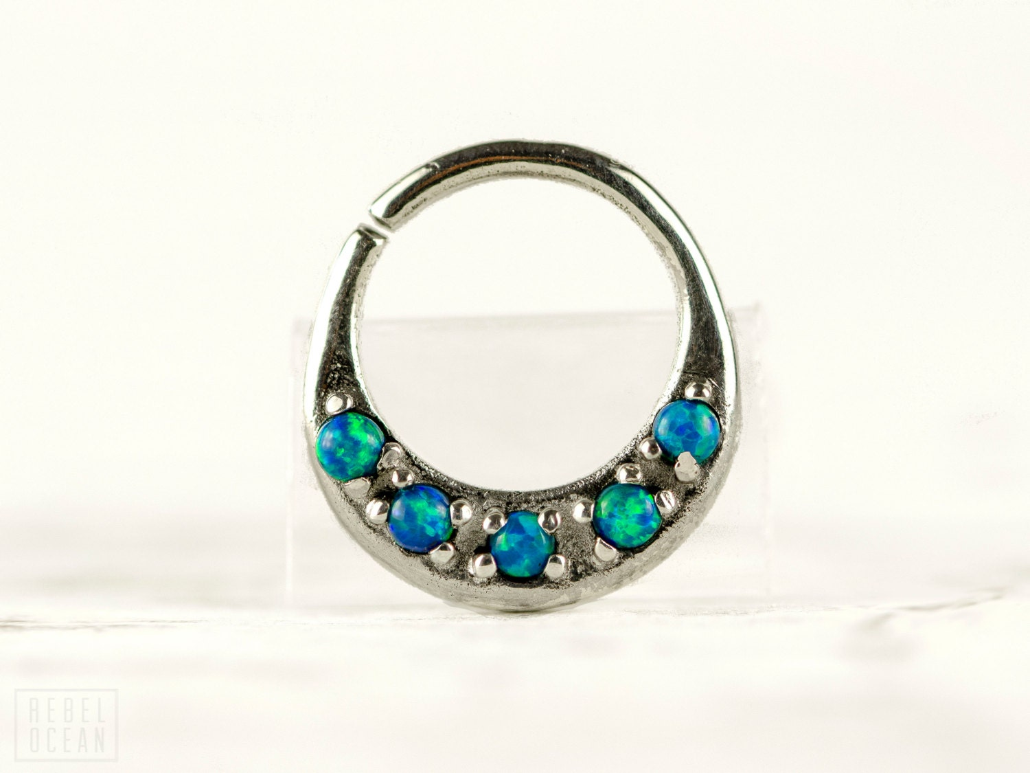 septum ring nose ring septum jewelry green blue opal