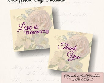 Love Is Brewing Favor Tags, Printable Bridal Shower Thank You Favor Tags, Wedding Favor Tags, High Tea Favor Tags, Instant Digital Download