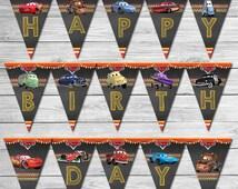 Disney Cars Birthday Banner Chalkboard - Lightning McQueen Birthday Banner - Disney Cars Printables - Cars Party Favor - Cars Happy Birthday