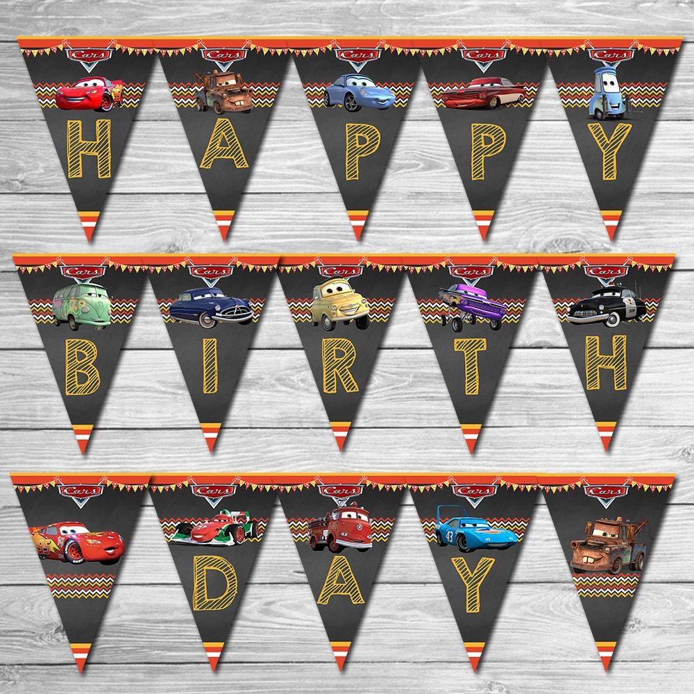 Disney Cars Birthday Banner Chalkboard Lightning McQueen