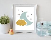 Printable Gold and Aqua Wall Art, Modern nursery Digital print, Gold Cloud Moon and Stars, Aqua Moon Print, Instant download (BabyArt T7)