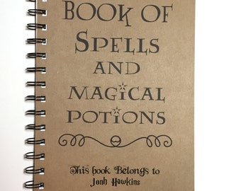 Book of Spells and Magical Potions, Harry Potter Inspired Notebook, Hogwarts, Harry Potter Gift, Notebook, Journal, Harry Potter, Spell Book