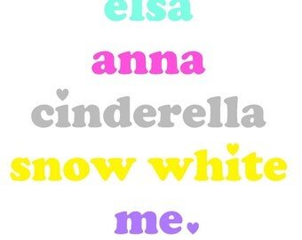 Glitter Disney Princess Names and Me  Heat Transfer Iron On Vinyl Decal