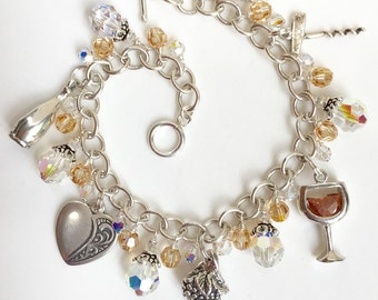 Wine Charm Bracelet; Sterling Silver and Swarovski Crystal Wine Lovers Charm Bracelet