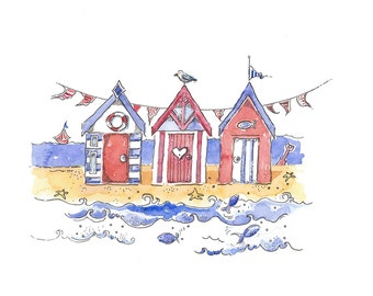 Beach Hut Print from an Original Watercolour, Buntings, Wall Art, Seaside, Gift,  Nursery
