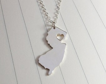 Silver New Jersey State Necklace,New Jersey State Charm Necklace,NJ State Necklace,State Shaped Necklace  With A Heart