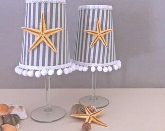 Starfish fabric trimmings Candle Holder, Lighting, Starfish Candle Holder, Fabric Lighting, Beach Decor, Wedding Decor