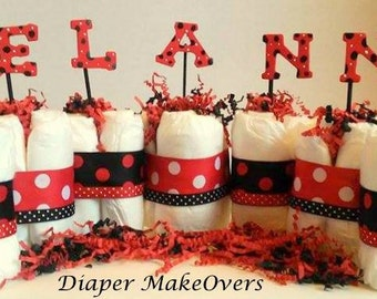 Name Diaper Cake - Baby Shower Centerpiece or Decoration - Lady Bug Theme