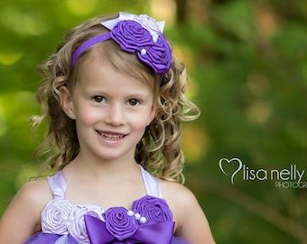 Purple and Lavender Rose Headband Baby Girl Headband Flower Girl Headband Photo Prop Satin Flower Headband