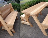One piece folding bench and picnic table plans   Downloadable PDF file