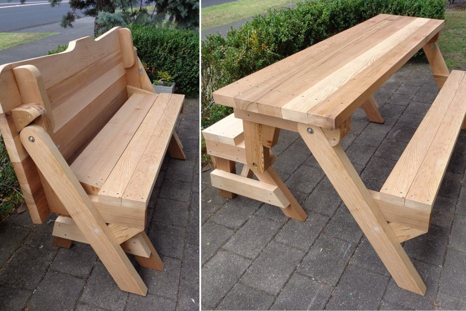 One piece folding bench and picnic table plans | Downloadable PDF file ...