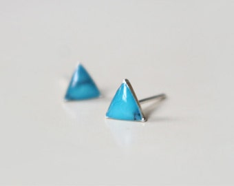 kallaite calaite triangle 925 sterling silver stud earrings, small tiny dainty pair (D172)