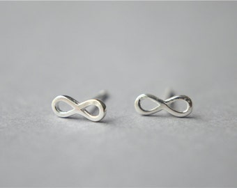 Tiny infinity stud earrings, sterling silver infinity stud earrings, minimalist infinity post earrings, simple dainty infinity posts (D270)