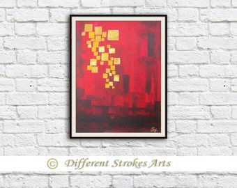 Floating lights, abstract painting, canvas painting, acrylic painting, golden painting, Indian painting