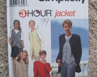 UNCUT Misses Jacket and Vest - Size 6 to 10 - Simplicity Sewing Pattern 9361 - Vintage 1995