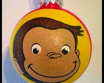 Hand Painted Curious George Ornament, Curious George Gifts, Kids Ornaments, Glass Ball Christmas Ornaments, Christmas Decor, Cartoon Monkey