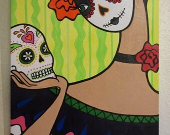 "ORIGINAL 12x24 Acrylic on Wood Panel - Day of Dead Painting, Dia de los Muertos Painting, ""Hello"""