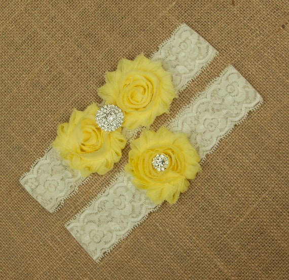 Wedding Garter Set Yellow Wedding Garter Yellow Bridal