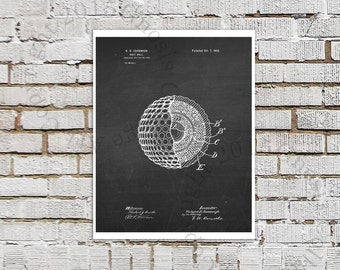 Golf Ball Poster print #3 black White chalkboard Art Print, Golf Print, Golf Wall Art, Golf Ball Invention Patent Drawing, Golf Ball Decor