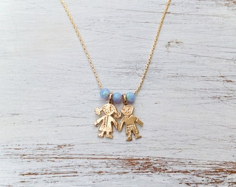 Opal Necklace, Boy Girl Necklace, Children Necklace, Gold Filled Necklace, Blue opal necklace, Mother's Day, Mothers Necklace,gift for mom