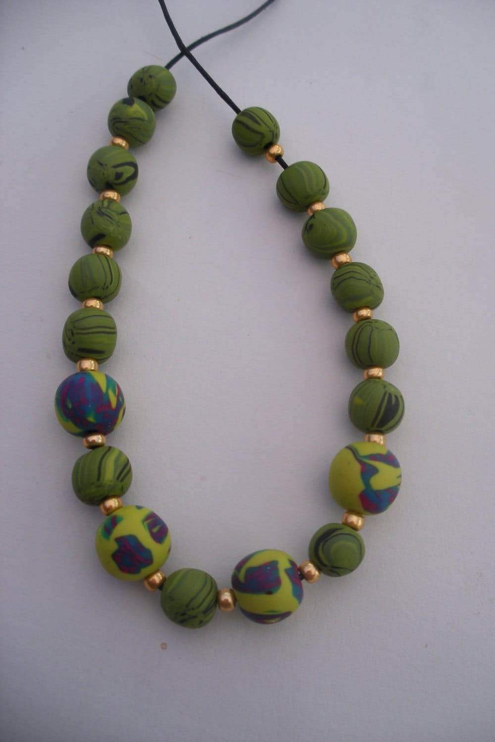 blue and green gold bead necklace handmde