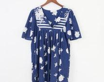 Vintage 90s Dress | Women's Vintage 90s Floral Short-Sleeve Babydoll Tunic Dress | Medium M