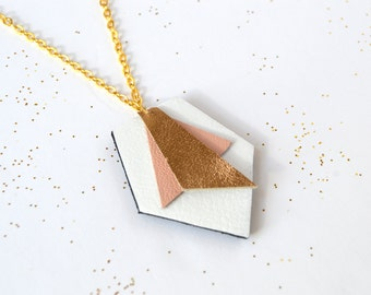 Art Deco leather necklace Abstract geometric pendant Upcycled jewellery Leather jewelry