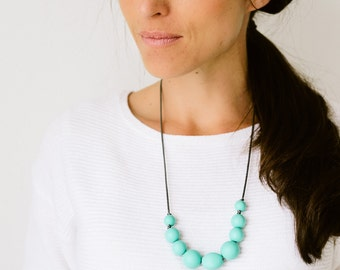 SALE Teething Necklace Silicone Nursing Necklace Joy - Turquoise