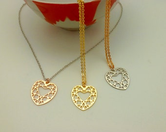 Heart necklace gold pink silver collier Diamond shape necklace - chain - Necklace Made in Italy - hand made