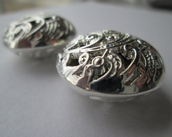 Set of 2 Puffy Silver Tone Pendants (045)