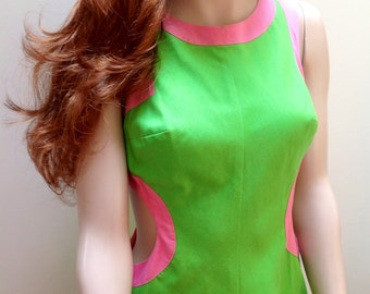 1960s micro mini green and pink go-go dress with cut-outs S