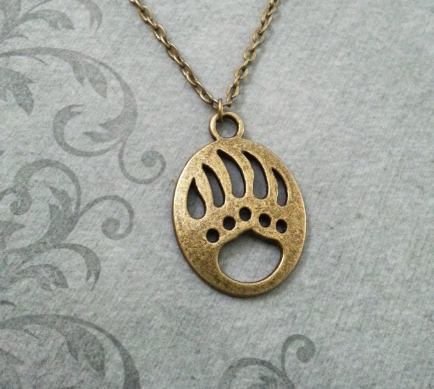 Bear Claw Necklace Bronze Paw Print Necklace Grizzly Bear