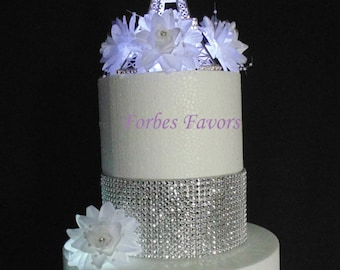 10 Inch Gold or Silver Metal Eiffel Tower Paris Theme Weding Cake Topper with LED Light