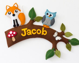 Woodland creatures personalized childrens name sign / wall hanging. Tree branch with fox, owl and butterfly.