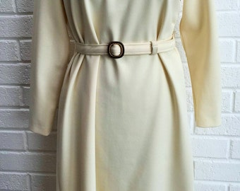 Vintage 1960's Cream Dress.  UK size 14